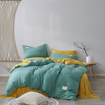 2020新款-美棉四件套 床单款四件套1.5m(5英尺)床 墨绿+姜黄