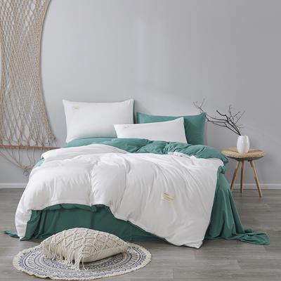 2020新款-美棉四件套 床单款四件套1.5m(5英尺)床 奶白+墨绿