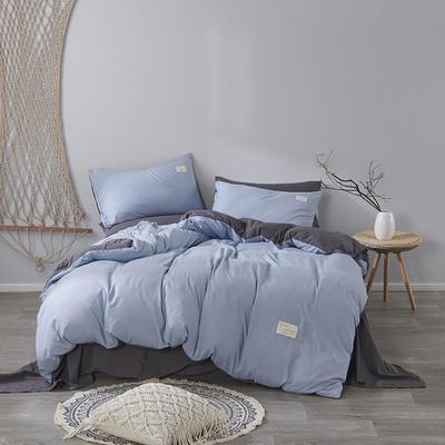 2020新款-美棉四件套 床单款四件套0.9m床-1.2m床 浅蓝+灰