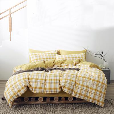 2020新款-美棉四件套 床单款四件套0.9m床-1.2m床 芒果格