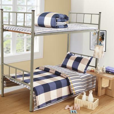家纺-13372全棉斜纹三件套 小号(1.35m床及以下) 洛丽塔-蓝