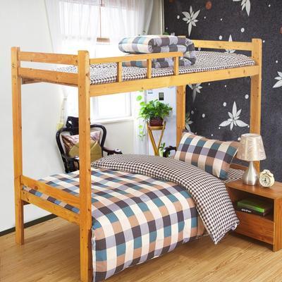 家纺-12868全棉斜纹三件套 小号(1.35m床及以下) 彩格世界
