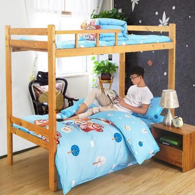 家纺-12868全棉斜纹三件套 小号(1.35m床及以下) 熊熊乐园-蓝