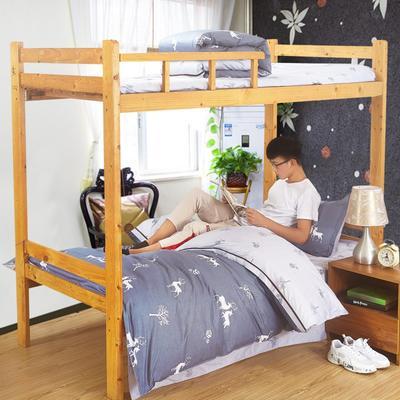 家纺-13372全棉斜纹三件套 小号(1.35m床及以下) 鹿语风情-灰