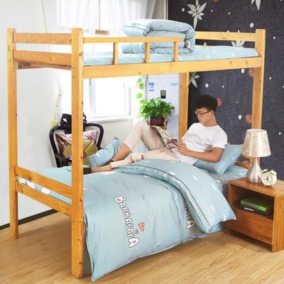 家纺-13372全棉斜纹三件套 小号(1.35m床及以下) 心恋熊仔-蓝