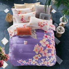 梧桐树-全棉贡缎阳绒磨毛系列 标准(1.5m-1.8m床) 紫色樱花
