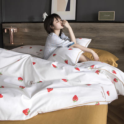 2019新款-全棉轻奢工艺款四件套 1.2m(4英尺)床 晚安 白