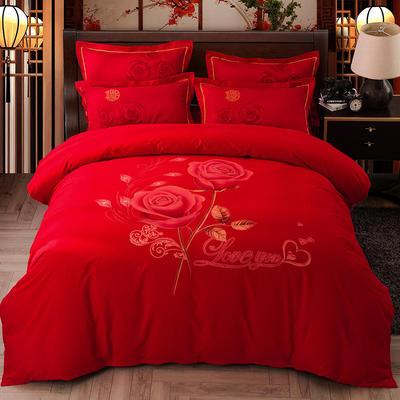 2019新款-婚庆磨毛四件套系列 床单款1.5m(5英尺)床 花样年华-大红