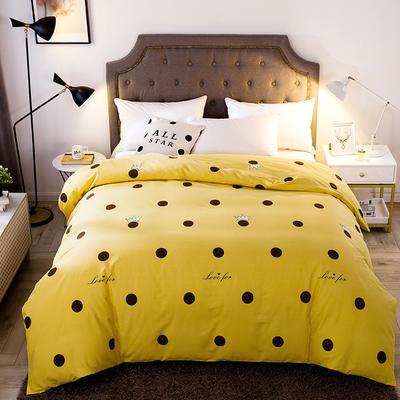 2019新款-全棉磨毛单品被套 160*210cm 时尚波点-黄