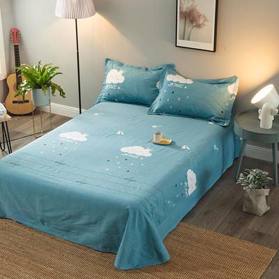 2019新款-全棉磨毛单品床单 180cmx240cm 云儿朵朵-蓝