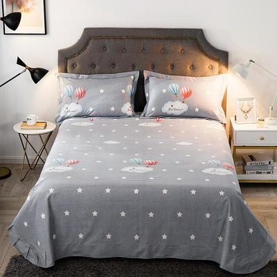 2019新款-全棉磨毛单品床单 180cmx240cm 自由天空-灰