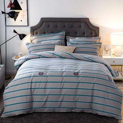 2019新款-全棉磨毛四件套 床单款三件套1.2m(4英尺)床 爱丁堡-灰