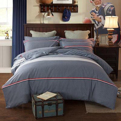 2019新款-全棉磨毛四件套 床单款三件套1.2m(4英尺)床 布鲁斯 灰