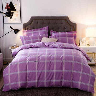 2019新款-全棉磨毛四件套 床单款三件套1.2m(4英尺)床 摩登天空-雪青