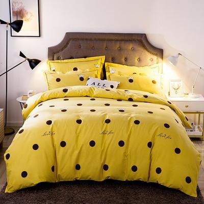 2019新款-全棉磨毛四件套 床单款三件套1.2m(4英尺)床 时尚波点-黄