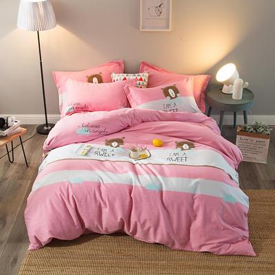 2019新款-全棉磨毛四件套 床单款三件套1.2m(4英尺)床 熊熊乐园-粉
