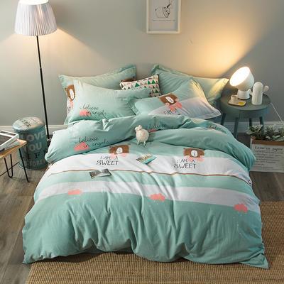 2019新款-全棉磨毛四件套 床单款三件套1.2m(4英尺)床 熊熊乐园-绿