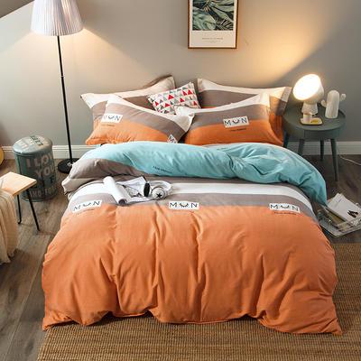 2019新款-全棉磨毛四件套 床单款三件套1.2m(4英尺)床 休闲人生