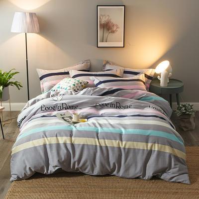 2019新款-全棉磨毛四件套 床单款三件套1.2m(4英尺)床 一见倾心-咖