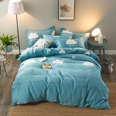 2019新款-全棉磨毛四件套 床单款三件套1.2m(4英尺)床 云儿朵朵-蓝