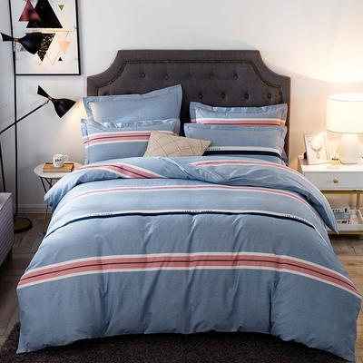 2019新款-全棉磨毛四件套 床单款四件套1.5m(5英尺)床 自由风尚-蓝