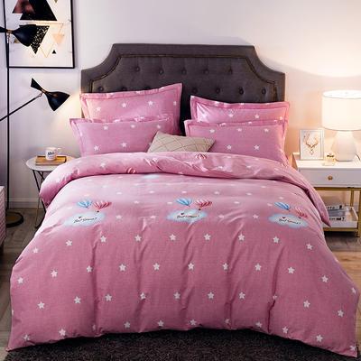 2019新款-全棉磨毛四件套 床单款四件套1.5m(5英尺)床 自由天空-粉