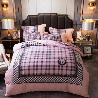 2019新款-全棉大版磨毛四件套 床单款四件套1.5m(5英尺)床 奥汀-红