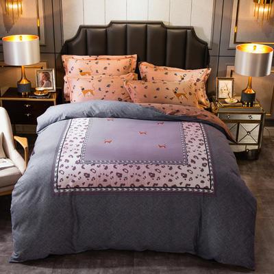 2019新款-全棉大版磨毛四件套 床单款四件套1.8m(6英尺)床 卡尔-灰