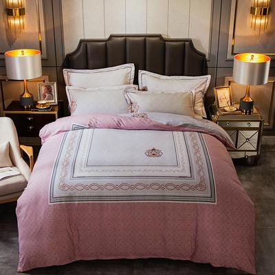 2019新款-全棉大版磨毛四件套 床单款四件套1.5m(5英尺)床 卡尔森-粉