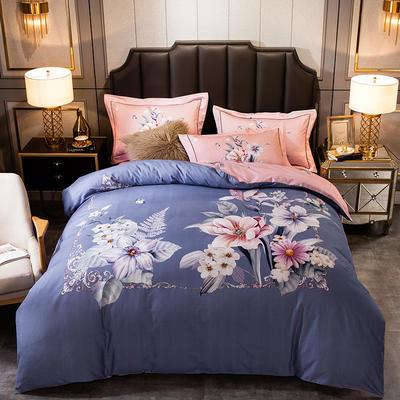 2019新款-全棉大版磨毛四件套 床单款四件套1.8m(6英尺)床 开颜