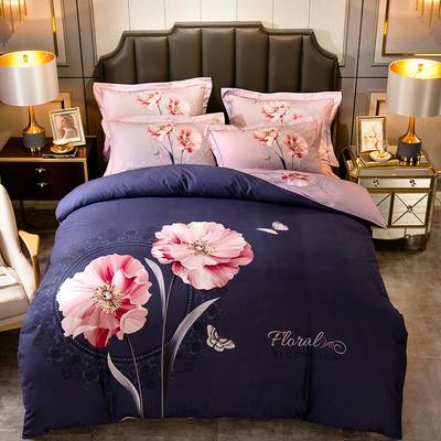 2019新款-全棉大版磨毛四件套 床单款四件套1.8m(6英尺)床 兰语琪