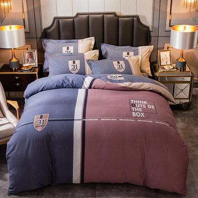 2019新款-全棉大版磨毛四件套 床单款四件套1.8m(6英尺)床 罗本
