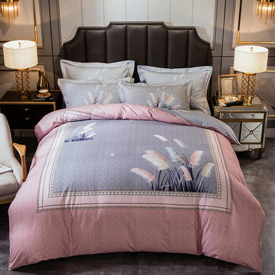 2019新款-全棉大版磨毛四件套 床单款四件套1.8m(6英尺)床 罗茜