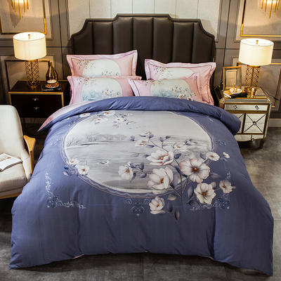 2019新款-全棉大版磨毛四件套 床单款四件套1.8m(6英尺)床 玛丽亚蓝