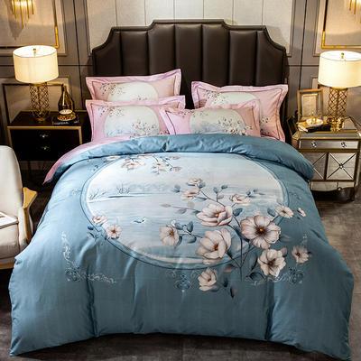 2019新款-全棉大版磨毛四件套 床单款四件套1.8m(6英尺)床 玛丽亚绿