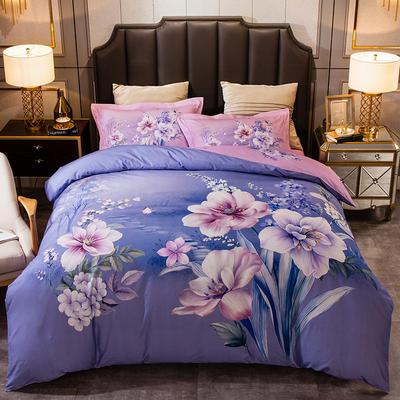 2019新款-全棉大版磨毛四件套 床单款四件套1.8m(6英尺)床 欧尼