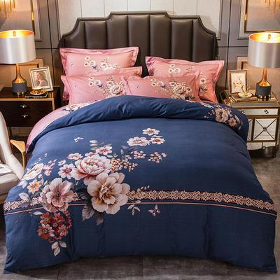 2019新款-全棉大版磨毛四件套 床单款四件套1.8m(6英尺)床 倾妍花开
