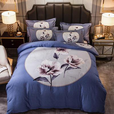 2019新款-全棉大版磨毛四件套 床单款四件套1.8m(6英尺)床 秋月