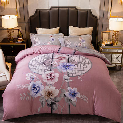 2019新款-全棉大版磨毛四件套 床单款四件套1.8m(6英尺)床 盛世花开