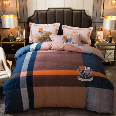 2019新款-全棉大版磨毛四件套 床单款四件套1.8m(6英尺)床 斯塔诺