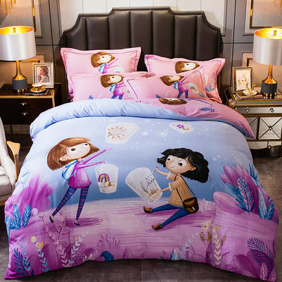 2019新款-全棉大版磨毛四件套 床单款四件套1.8m(6英尺)床 甜蜜之约