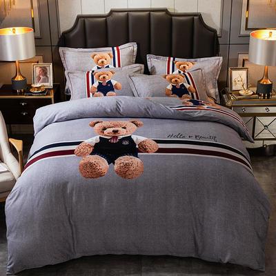 2019新款-全棉大版磨毛四件套 床单款三件套1.2m(4英尺)床 星光熊