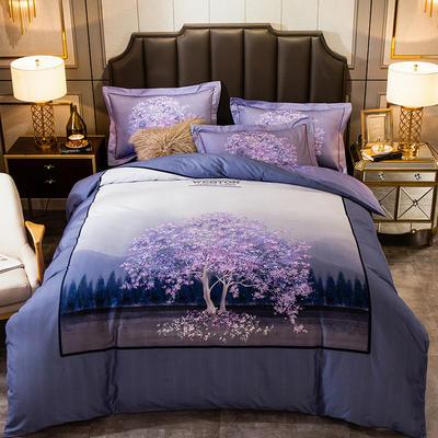 2019新款-全棉大版磨毛四件套 床单款四件套1.8m(6英尺)床 幸福树