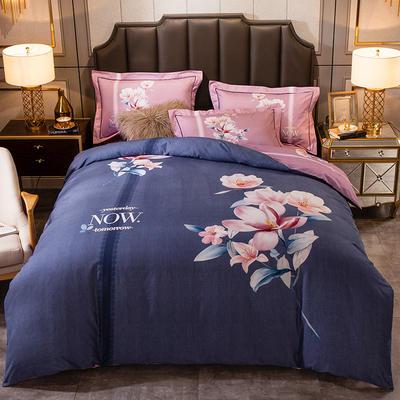 2019新款-全棉大版磨毛四件套 床单款四件套1.8m(6英尺)床 云舒