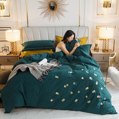 2019新款-全棉磨毛绣花四件套 床单款1.5m(5英尺)床 1罗拉-宝石绿