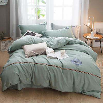 2019新款-全棉磨毛绣花四件套 床单款1.5m(5英尺)床 保罗-豆绿