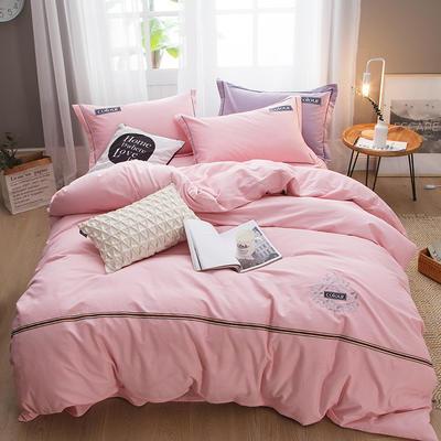 2019新款-全棉磨毛绣花四件套 床单款1.5m(5英尺)床 保罗-粉色