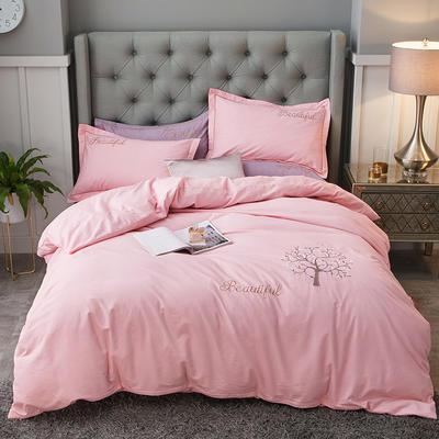 2019新款-全棉磨毛绣花四件套 床单款1.5m(5英尺)床 天空之城-粉色