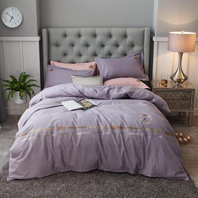 2019新款-全棉磨毛绣花四件套 床单款1.5m(5英尺)床 西雅图-淡雅紫