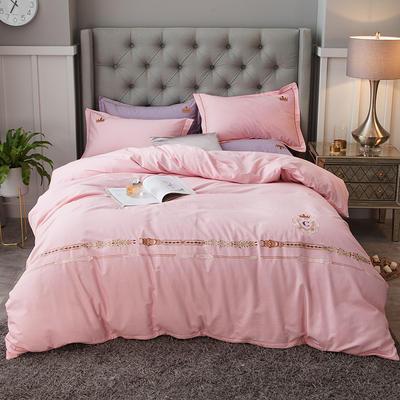2019新款-全棉磨毛绣花四件套 床单款1.5m(5英尺)床 西雅图-粉色
